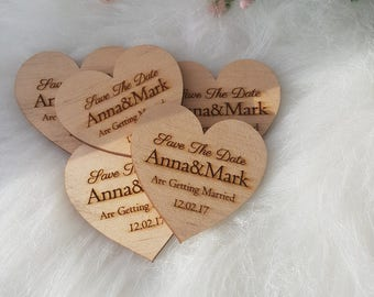 Wood heart  Wedding save the date .  Rustic Wedding.Wood Hearts 5.5 cm.