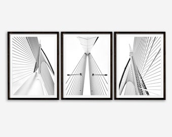 Bridge Print, Set of 3 Black and White Bridge Photographs, Architecture Art Poster, Large Poster, New York Photo, Black and White Print
