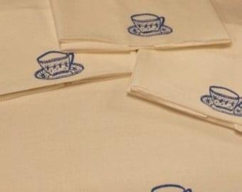 Set of 4 Vintage 1960's-1970's Like New Coffee, Tea, Cafe White Napkins