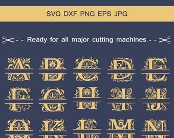 Regal Split Monogram Font Alphabet SVG , Monogram Font, Split Alphabet , Monogram Alphabet, Silhouette Cut Files, Cut Files.