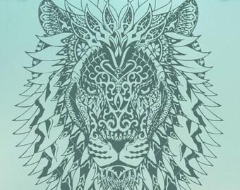 Layered Mandala Lion Svg Printable - Layered SVG Cut File