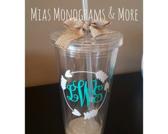 Monogrammed 16 oz Tumblers Personalized With Your Initials And Favorite Colors