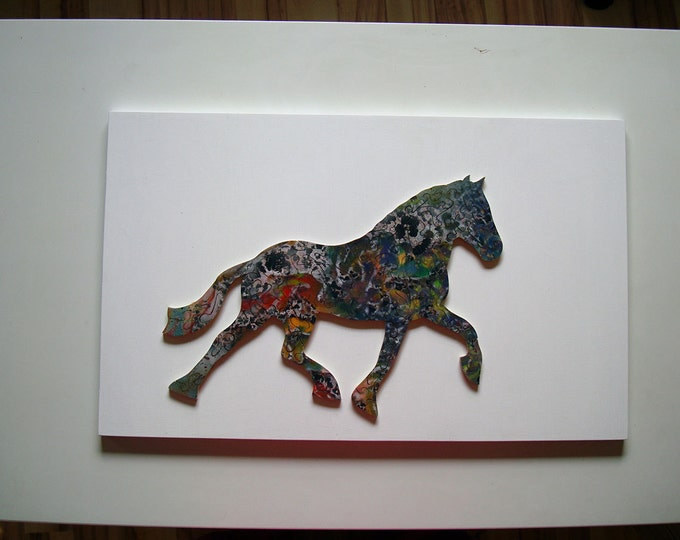 Wooden Puzzle; Horse, Abstract Zen Art Healing Smart Toy Waldorf Family Gift Adult, Handmade, Ready To Hang, Acrylic On Pieces by Samo Svete