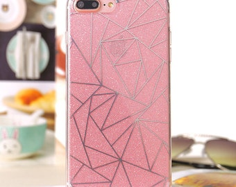 Pink glitter phone case,diamond pink clear phone case, geometric ,abstract,grid, iphone 6, iphone 7, iphone 6 plus, iphone 7 plus