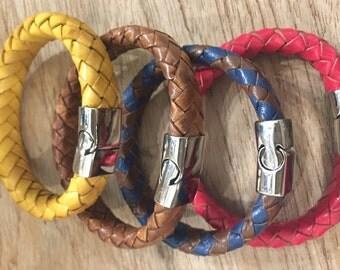Braid leather bracelet natural Bohemian chic clasp chic unisex bracelet Valentine