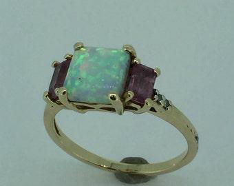 14kt Yellow Gold Lady's Diamond, Opal and Pink Tourmaline Ring