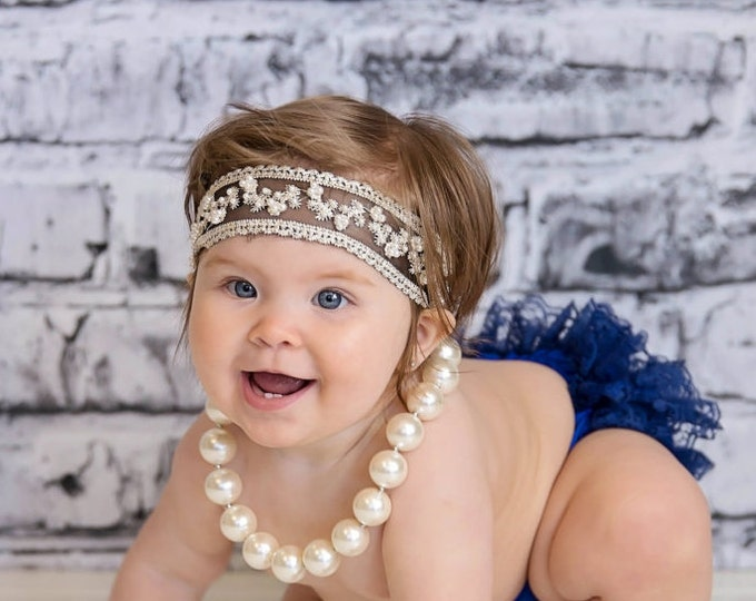 Baby Girls Ivory w/ Black Headband, photo prop, birthday headband, baby headband, baby bows, headbands, baby outfit, navy bloomers baby set