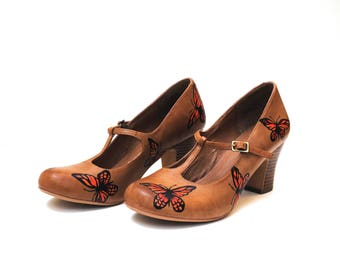 Monarch Butterfly Hand Painted Upcycled Women's T-bar Leather Shoes