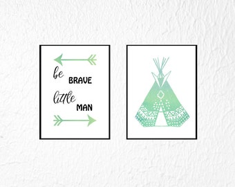 Boy Nursery Print Set of 2, Baby Boy Nursery Wall Art, Set of 2 Prints, Be Brave Little One, Boy Nursery Wall Decor, Set Nursery Prints Boy