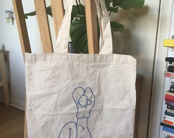 Hand embroidered natural cotton shopping tote bag Matisse