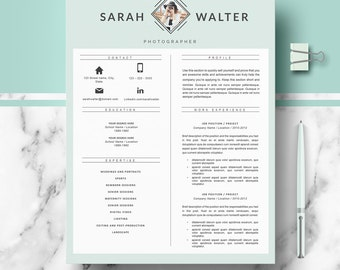 Modern Resume Template | CV Templates for Word & Pages; Professional cv + Cover Letter + References + Resume Writing guide; Instant Download