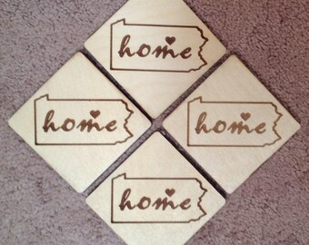 "Personalized ""home"" coaster sets"
