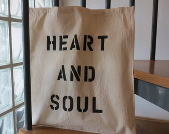 Heart & Soul Cotton Shopping Tote Bag - Handmade in the UK
