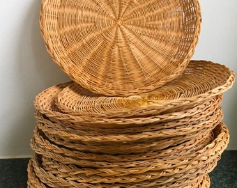Vintage wicker paper plate holders