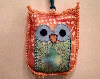 owl ornament fabric holiday christmas decoration whimsical orange green teal batik print cotton felt stuffed handmade