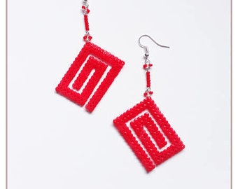 "Earrings ""Collection-inspired"" red / hama beads / pixel"