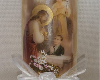 "First Holy Communion Candle - Boy, 6"" tall."