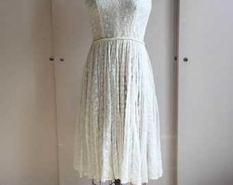 1950's Embroidered Mesh Dress
