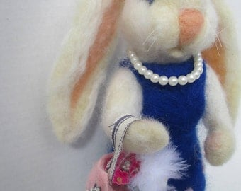 """OOAK Handmade Needle Felted White Wool Bunny 9.5"""" ~ Pink Purse  with Paper Flowers & Feathers ~ Pearl like Bead Necklace ~"""