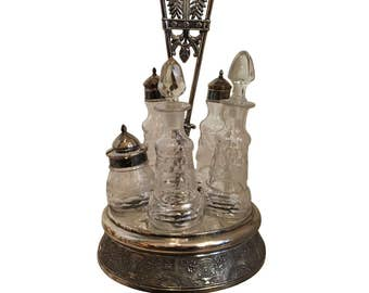 Antique Silver Plated Cruet Set
