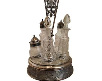 Antique Silver Plated Cruet Set