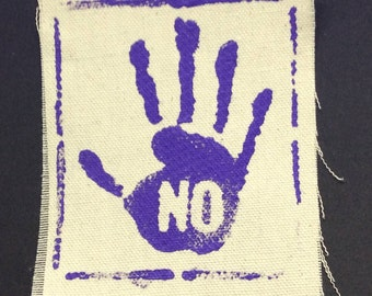 Feminist patch,NO MEANS NO,sexual assault awareness,domestic violence awareness,woman's rights,social justice,feminist,feminism,patch art,M