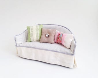 1:12 Miniature Dollhouse Spring Blossoms, Shabby Chic, Swarovski Crystal Pillow Collection
