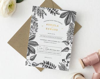 Botanical Garden Wedding Invitation Set Deposit - Hand Drawn Blossoming Botanical Wedding Invitations with Gold Foil Detail