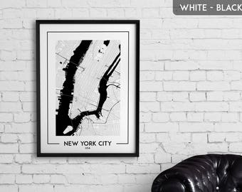 NEW YORK CITY map digital download, New York City poster, New York City wall art, New York City city map, New York City map decor