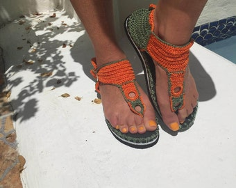 crochet thong sandals with two-tone rubber sole