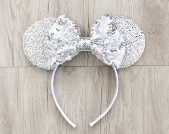 Silver Mickey Mouse Ears, Silver Minnie Mouse Ears, Disneyland Ears, Minnie Mouse Ears, Minnie Ears, Mickey Mouse Ears, Disney World, Disney