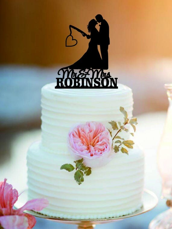 Fishing Poles With Date Or Initials Wedding Cake Topper Mr And Mrs Personlized Bride Groom From Amywoodendecor On Etsy