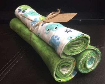 Contoured Flannel Frog Burp Cloths, Set of 3