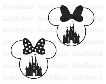 Minnie Mouse svg disney svg files for Cricut castle minnie head svg Castle in Minnie Head Vector Cut Files for Silhouette