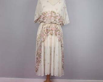 70s Gauzy Summer Dress with Angel Sleeves
