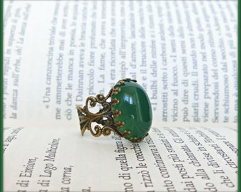 Victorian Agate ring ,Vintage Agate ring, Adjustable filigree ring, Red agate ring, Green agate ring, Victorian ring, Gift for her