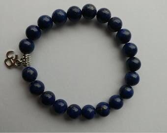 Lapis lazuli bleu gemstone 8 mm beads Aum om ohm charm Lapis lazuli bracelet mala bracelet