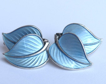 Hans Myhre. Blue, enamel double leaf earrings.  Norway sterling. Scandinavian earrings. Vintage 925s