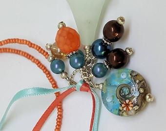 Lampwork glass beaded book thong bookmark sea ocean beach glass bead home decor dangle