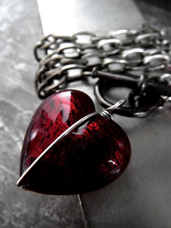 Ver. 5 | Heart of Darkness - Dark Red Heart Pendant Necklace, Deep Red Sexy Valentine Jewelry - Love Gift for Goth Gothic Girlfriend Rocker