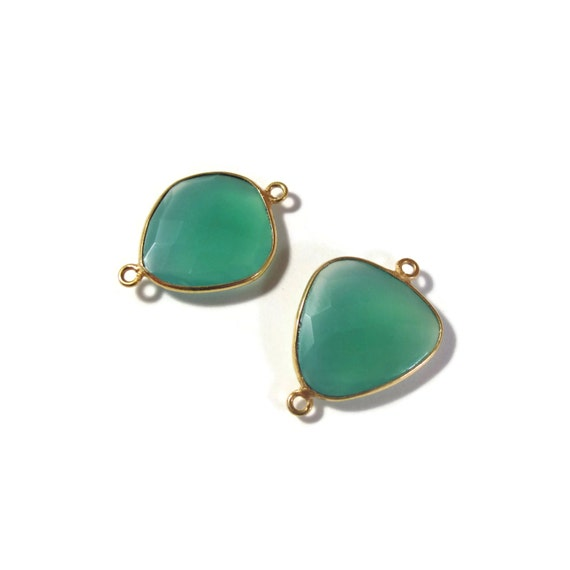 2 Green Onyx Pendants, Matched Pair of Gold Plated Irregular 25mm x 17mm Bezel Set Pendants with Two Loops (C-Go4c)