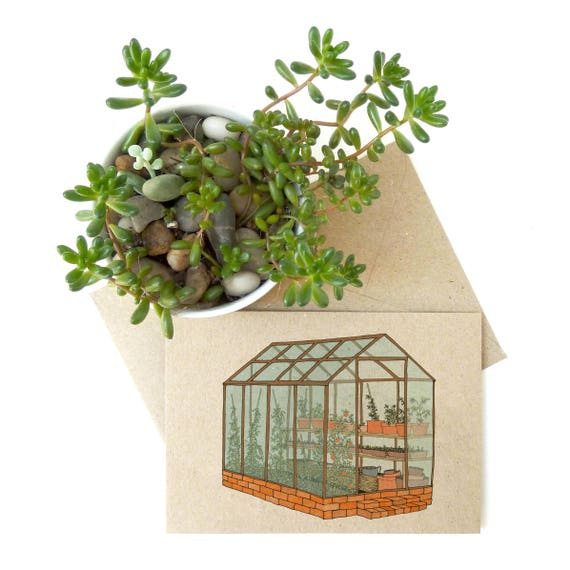 Greenhouse Card - garden plant illustration - eco friendly / recycled / card for gardener / gardening print