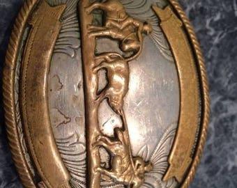 Rodeo Team Roping Belt Buckle German Silver