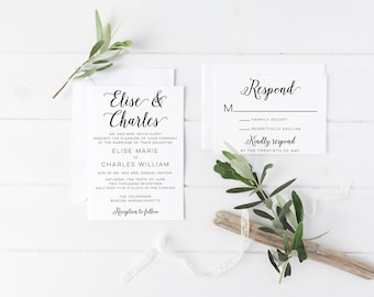 Printed Wedding Invitations, Personalized Wedding Invites, Modern Calligraphy, Classic Wedding Invitation, Rustic Wedding, Unique Invitation