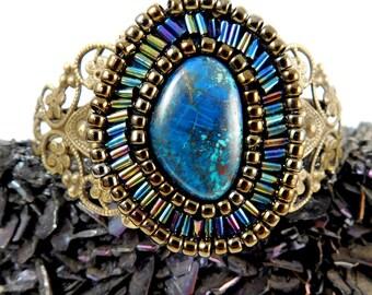 Azurite and Antiqued Brass Beadwork Cuff Bracelet