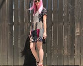 1990s Patchwork Babydoll Dress // 90s Grunge // Velvet Burnout // Floral Print Short Sleeve // Hippie Clothes // Boho CLothing // XS SMALL
