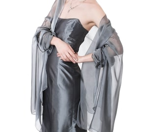 Silver Grey Evening  Silk Chiffon Stole/ Wrap/ Shawl with semi-sleeves