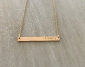 FIERCE -- Thin Horizontal Bar Necklace (14kgf or Sterling Silver)