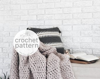 Crochet Pattern / Chunky Blanket Wool Textured Throw, Afghan / THE PONDEROSA Blanket
