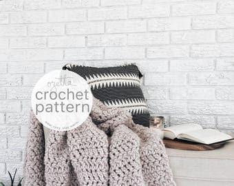 Crochet Pattern / Chunky Blanket Wool Textured Throw, Afghan / THE PONDEROSA Blanket